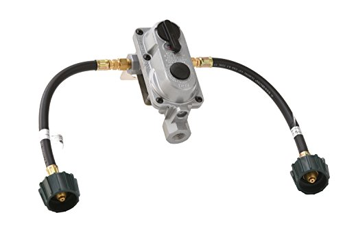 Flame King (KT12ACR6) 2-Stage Auto Changeover LP Propane Gas Regulator With Two 12 Inch Pigtails For RVs, Vans, Trailers