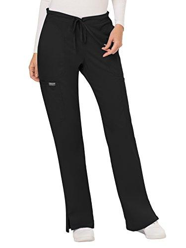 CHEROKEE Women's Mid Rise Moderate Flare Drawstring Pant, Black, Small