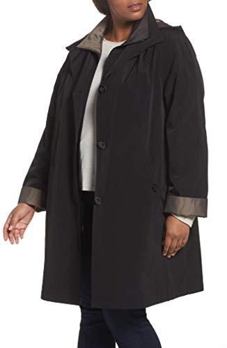 Gallery Women's Plus Size 3/4 a Line Rain Coat, Black, 2/X