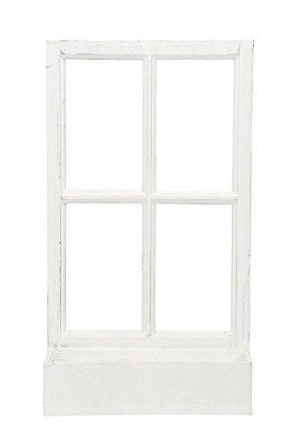 Deko-Fenster Fensterrahmen mit Pflanzkasten Holz Weiss Shabby