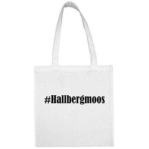 Tasche #Hallbergmoos Größe 38x42 Farbe Weiss Druck Schwarz