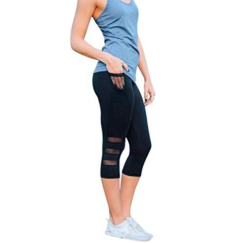 Polainas De Las Mujeres De Moda De Elástico De Malla Remiendo Entrenamiento De Fitness Correr Pantalones Capri Pantalones Deportivos Color Sólido Estiramiento Pantalones De Yoga