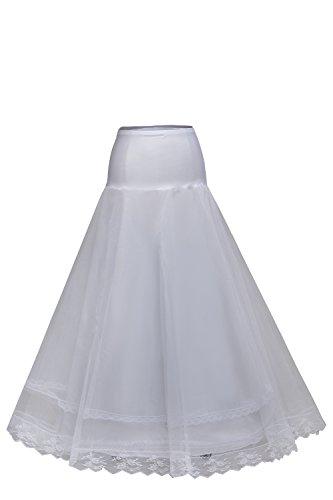 Babyonlinedress® Elegant Damen Tüll Petticoat A-Linie Unterrock Reifrock für Abendkleider Brautkleid Hochzeitskleid Weiß
