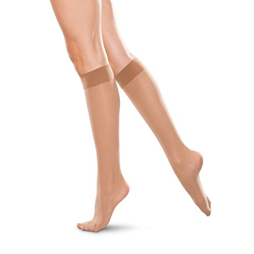 Therafirm Medias de apoyo hasta la rodilla – nailon de compresión moderada de 20-30 mmHg (arena, 4 XL)