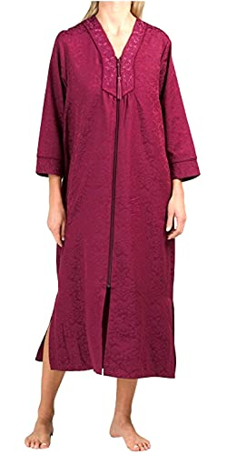 Miss Elaine Long Zip Jacquard Pattern Robe 861150 (Burgundy, X-Large)