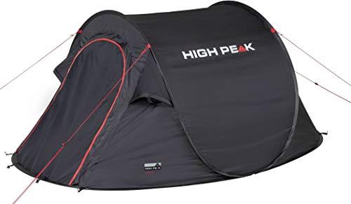High Peak Wurfzelt Vision 2, Pop Up Zelt für 2 Personen, Festivalzelt freistehend, super leichtes Schnellöffnungs-Wurfzelt, 2000 mm wasserdicht, Ventilationssystem, Moskitoschutz