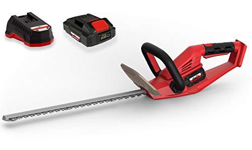 Grizzly Tools Akku-Heckenschere mit 20 V, 2,0 Ah Lithium Ionen Akku und Schnellladegerät, Lasercut Messer mit 52 cm Schnittlänge, 15 mm Zahnabstand, Messerbremse, drehbarer Griff