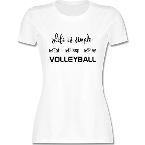 Volleyball - Life is Simple Volleyball - L - Weiß - Volleyball Damen Life is Simple - L191 - Tailliertes Tshirt für Damen und Frauen T-Shirt