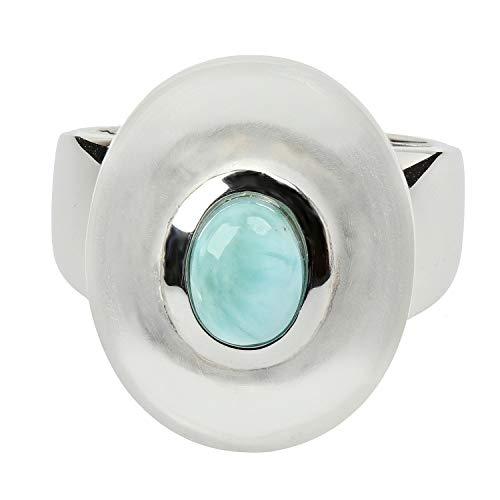 LaLuna Design - Anello da donna in argento 925 con cristallo di rocca, gelatina e larimar e Argento, 50 (15.9), colore: blu, cod. LLD2019002