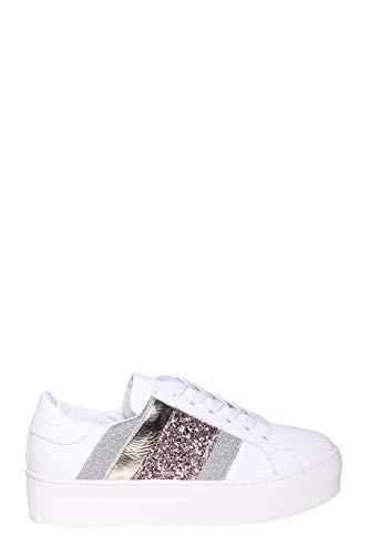 MELINE Sneaker aus Leder mit metallischem Finish, seitliches Band in drei Farben und Gummirand, - 617 - Größe: 38 EU