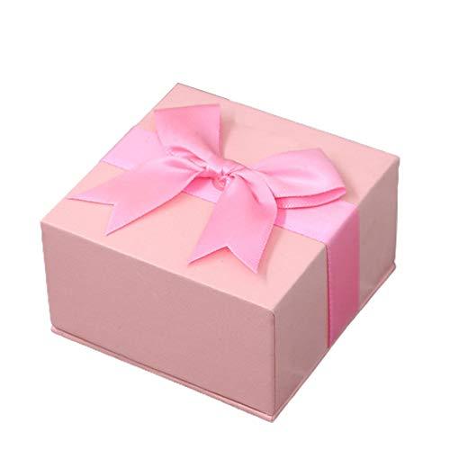 Caja de almacenamiento de joyería cuadrada de color sólido con diseño de lazo