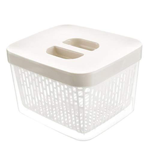 5 Kleuren en 5 Specificaties U kunt kiezen voor de Stijl: Modern Materiaal: Plastic Handel Naam: Keuken Koelkast Opbergdoos Feest: Voedselopslag Container Doos Met Drain Basket, Wit B