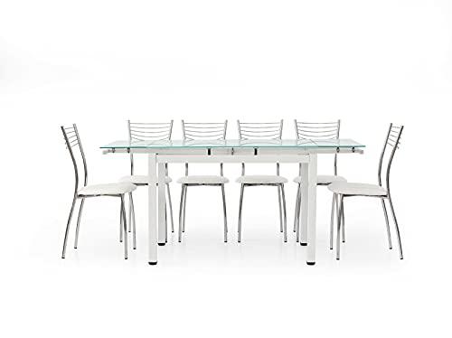 Tavolo Rettangolare da Pranzo Allungabile fino a 170 cm, piano in Vetro, Struttura in Metallo Bianco, con 2 Allunghe da 30 cm. - Mis. 110x70x76 cm.