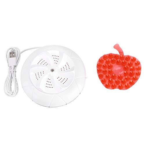 Lavatrice pieghevole con vasca USB, mini lavatrice portatile da viaggio piccola lavatrice ad ultrasuoni con lavatrice turbo(bianca)