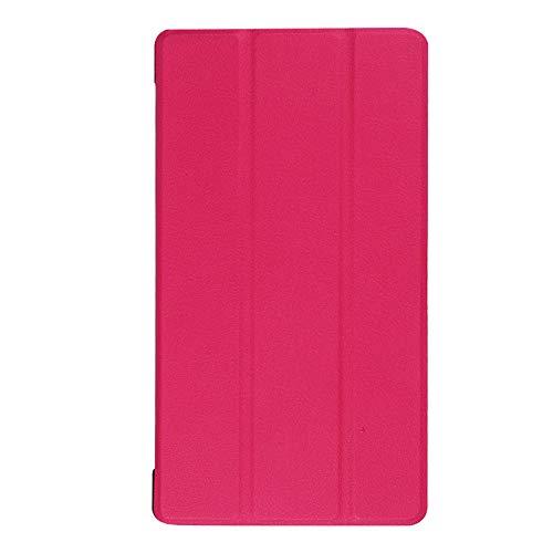 Adecuado para Lenovo Tab 7 Funda para Tablet PC Essential TB-7304F Soporte de Plegado Triple Funda de Cuero de 7 Pulgadas-Rosa roja_Lenovo / Lenovo