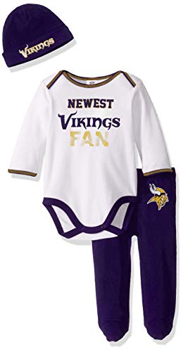 NFL Minnesota Vikings Boys  BODYSUIT FOOTED PANT AND CAP,  Team Color,  6-9M, 3 piece