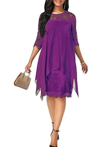 Minetom Elegante Abendkleider Cocktailkleider Damenkleider Brautjungfernkleider Aus Spitzen Knielange Rockabilly Ballkleid Rund Ausschnitt Violett 50