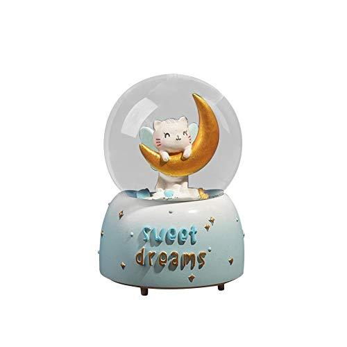 Caja de música para niña con corazón rosa brillante linterna de nieve, bola de cristal, caja de música para regalo de San Valentín, cumpleaños, caja de música de decoración (color: azul)