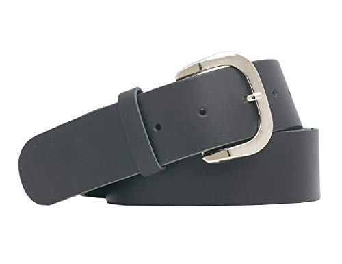 Cintur/ón de cuero verdadero lisso sin desino 4cm de ancho en color negro longitud total 105cm tama/ño de la cintura: 90cm