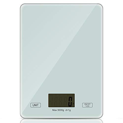 Redmoo Balanza Cocina, 5kg / 11 lbs Bascula Precision 1g, Peso Cocina Digital con Pantalla LCD Ideal para Pesar Alimentos de Recetas (Blanco)