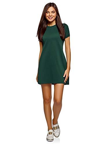 oodji Ultra Mujer Vestido Holgado de Punto, Verde, ES 34 / XXS