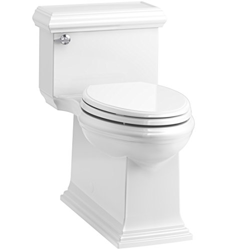 KOHLER K-6424-0 Memoirs Classic Comfort Height Skirted One-Piece Compact Elongated 1.28 GPF Toilet with AquaPiston Flush Technology and Left-Hand Trip Lever, White, 28.25 x 18.00 x 27.75 inches
