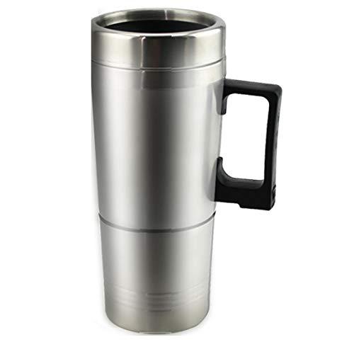 SeniorMar Tasse de chauffe-eau pour voiture - Bouilloire électrique chauffée en acier inoxydable Tasse chauffante portable avec chargeur 12 Volt