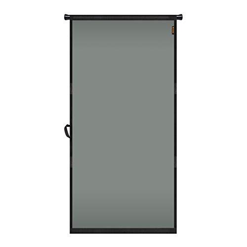 """MAGZO Hanging Screen Door 36"""" x 82"""", Durable Fiberglass Screen Door with Retractable Tension Rod and Hook and Loop Fit Door Size 36'' x 82'' Patio Sliding Front Back Door Screen Mesh Curtain Grey"""