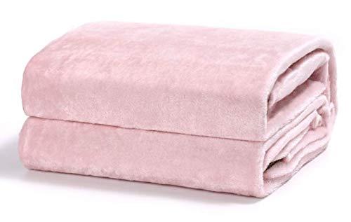 TIENDA EURASIA Mantas para Sofá de Terciopelo - Material 100% Microfibra - Tacto Suave Sedalina (Rosa, 130 X 160 CM)