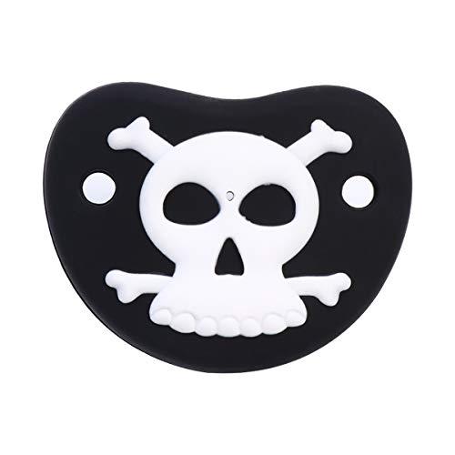 Abaodam Chupete de Halloween divertido recién nacido Chupete niños Appease Toy Accesorios de enfermería negro (diseño de calavera)
