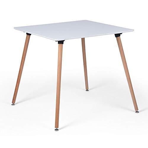 DORAFAIR Retro Esstisch MDF Weiß, Esszimmertisch Küchentisch Wohnzimmer Tisch, Quadratisch 80 * 80 * 74 cm, 4 Beine Natur