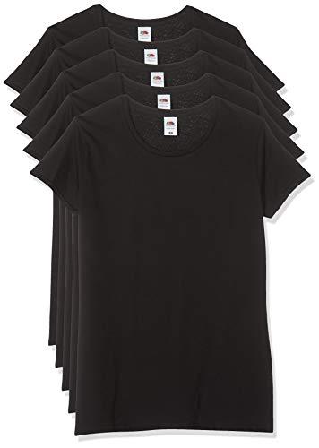 Fruit of the Loom Ladies Iconic, Lightweight Ringspun tee, 5 Pack Camiseta, Negro (Black 36), 38 (Talla del Fabricante: Large) (Pack de 5) para Mujer