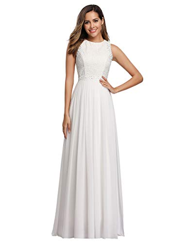 Ever-Pretty A-línea Vestido de Novia Cuello Redondo sin Mangas Encaje Gasa para Mujer Blanco 48