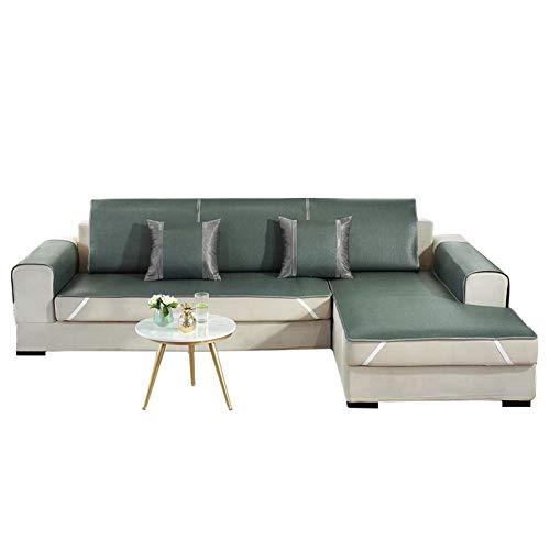 JIAGU Funda de sofá antideslizante resistente a las arrugas, para verano, para sofá, de piel, para verano, de ratán, color verde oscuro, tamaño: 80 x 180 cm.