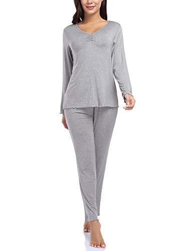 Clearlove Damen Schlafanzug Langarm Pyjama Set Zweiteiliger Sleepwear Soft Lounge...