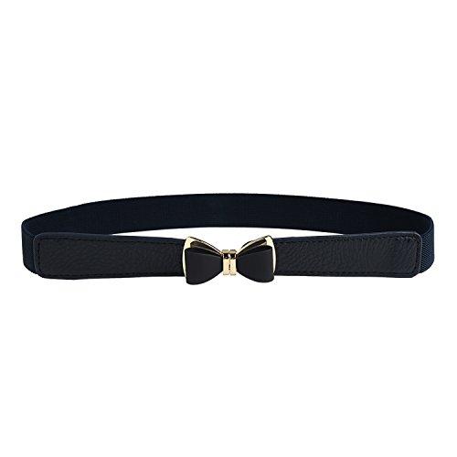 Syuer Womens 1' Width Bow Skinny Elastic Waist Belt Stretchy Belt Thin Belt (L-XL (31'-37'), Black)