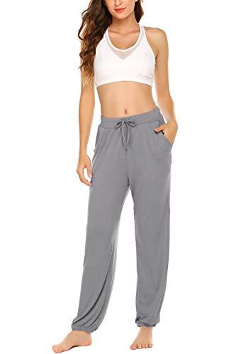 UNibelle Yogahosen Damen Lang Hose Weich Jogginghose mit Tasche Sporthose für Yoga Pilates Fitness Training Grau-M