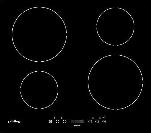 Privileg PCTAI 6040 NE Glaskeramik-Kochfeld / 60 cm/Induktion/Booster-Funktion/Kindersicherung/Timer mit Abschaltautomatik/Restwärmeanzeige
