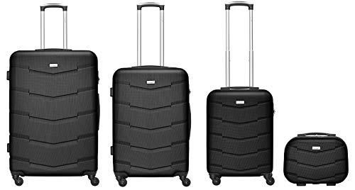 Packenger 4er Kofferset Carli, Zahlenschloss, Teleskopgriff, ABS, Gummireifen, (Schwarz)