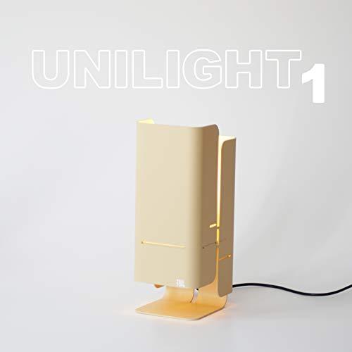 TEBTON® UNILIGHT1 – Tisch-Lampe aus Aluminium wirft ein warmes gelbes Licht, Made in Berlin, LED Designer-Lampe, Energieklasse A++, in Weiß, 14 x 17,5 x 37 cm (LxBxH) (Beige)