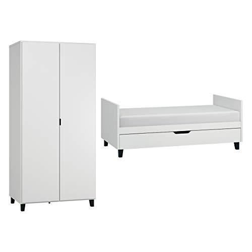 Lit évolutif 70x140 et Armoire 2 portes Simple - Blanc