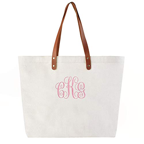 PERSONALIZED Custom Gift Tote Monogram Initial Fancy Embroidery Shoulder Bag with Interior Zip Pocket Canvas