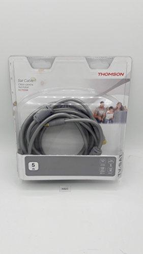 Thomson Cable SAT 5m F plug - F plug 24K chapado en oro 100dB Tasa de proyección de filtración de ferrita Triple sgielded 5m