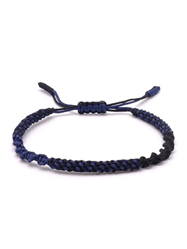 BENAVA Tibetisches Armband Freundschaftsarmband - Buddhistischer Schmuck Handgemacht Minimalistisch Blau Schwarz