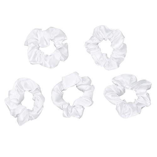 Preisvergleich Produktbild Lurrose Samt Haargummis Elastisches Haar Ring Pferdeschwanz Inhaber 5 Stücke (Weiß)