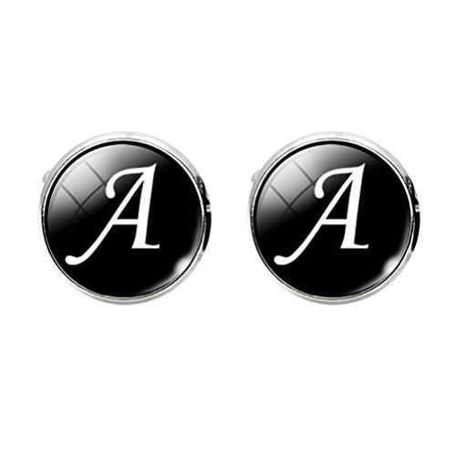 Holibanna Gemelos de La Letra a La Z Gemelos Grabados de La Letra Inicial Gemelos de Vidrio del Alfabeto Clásico para Hombres Novios de Boda de Negocios Padrinos de Boda (Un Patrón de Letras)