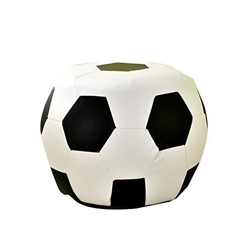 Yummeige Kruk van leer, hout + leer, kruk voor kinderen, voor woonkamer, slaapkamer, kinderkamer, ladder, lage zitbelasting 100 kg Football White