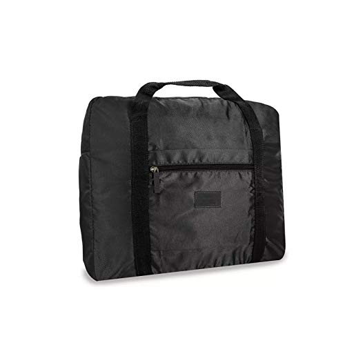 Weekender Waterproof Duffle Bag for luggage - Foldable Duffle bag for Travel with Multiple Compartments - black
