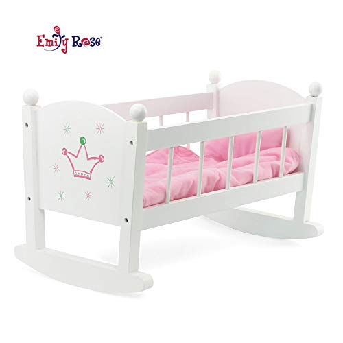 Emily Rose 18 Inch Doll Bed Doll Cradle Doll Furniture | Doll Bed Fits My Life and 18 Inch American Girl Dolls | Includes Mattress & Quilted Bedding