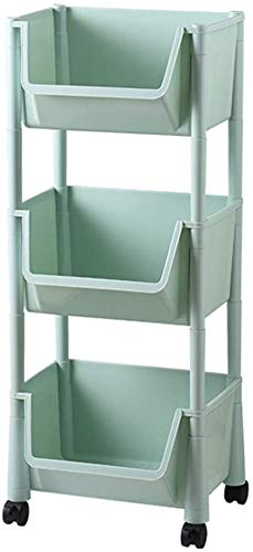 Dljyy Solidee keukenrek, 3 lagen van vloer tot plafond, planken, huishoudelijke groenten, speelgoed badkamer opbergmand met wielen (maat: groen)